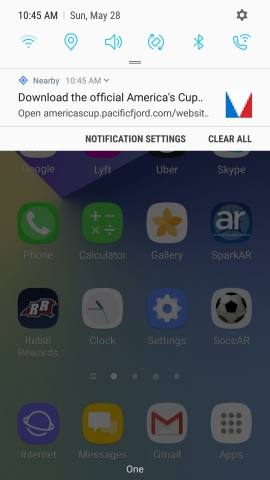 As fans enter the America's Cup Village, they're greeted with this notification on late-model Android phones, encouraging fans to download the America's Cup Official App. The notification presents itself automatically – without the app installed – thanks to Total Communicator Solutions, Inc.'s Spark Compass Physical Web. (Photo: Business Wire)