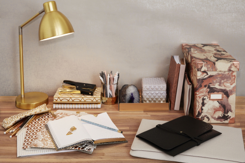 The DwellStudio collection of modern office organization pieces is available exclusively at Staples  ...