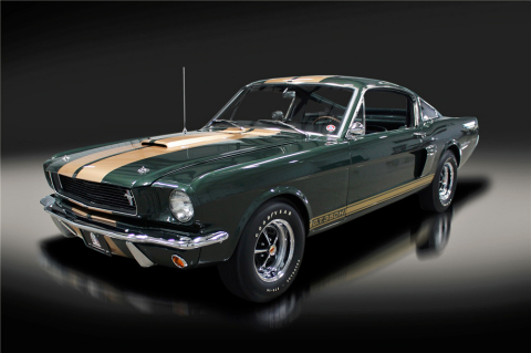 A '66 Shelby GT350-H Fastback (Lot #665.1) will cross the Northeast Barrett-Jackson Auction block. It is one of 999 Shelby GT350s built in 1966 and one of only 59 built in Ivy Green. (Photo: Business Wire)