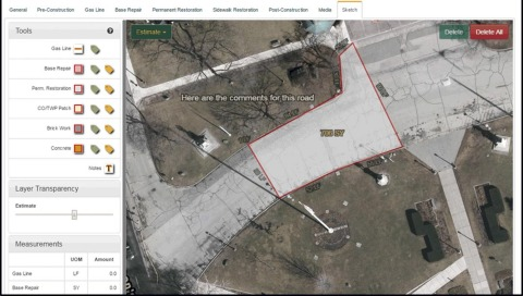 Lindy Paving utilizes Nearmap high-resolution aerial images for its field data collection app used for their paving projects. (Photo: Business Wire)