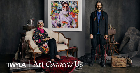 Fashion icon Iris Apfel and Twyla artist, James Gorter, for Twla's Art Connects Us campaign. Photo credit: Twyla