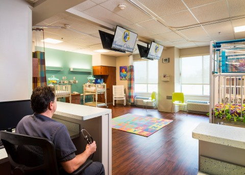 Weisman Children's Rehabilitation Hospital's new four-bed pulmonary unit allows for direct observation of patients who require around-the-clock supervision. (Photo: Business Wire)