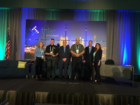 Representatives from the Kankakee County Sheriff's Office, Illinois, accept their award from Tyler Technologies. (Photo: Business Wire)