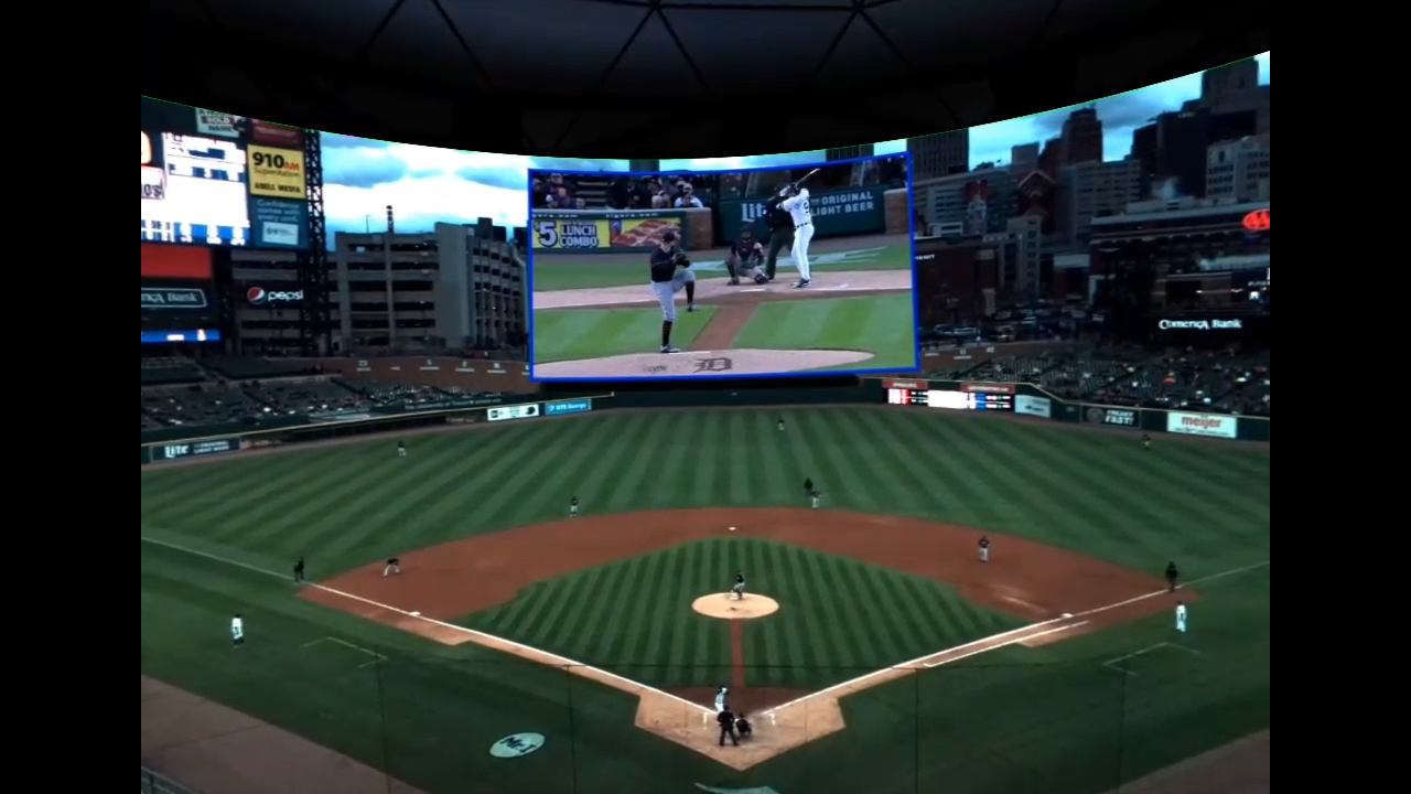 """The """"Intel True VR Game of the Week"""" enables MLB fans to personalize their virtual reality experience with multiple camera angles, post-game highlights, on-demand content and statistics. Viewers use a Samsung Gear VR headset after downloading the Intel True VR app, now available in the Oculus app store. (Credit: Intel Corporation)"""