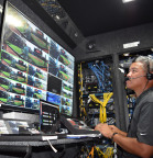 At a select stadium every Tuesday, the mobile production room captures and processes MLB game footage from multiple Intel True VR cameras, which generate up to 1TB of data per hour. Beginning with the 2017 MLB regular season, Intel is livestreaming one game each week via the Intel True VR app. (Credit: Intel Corporation)