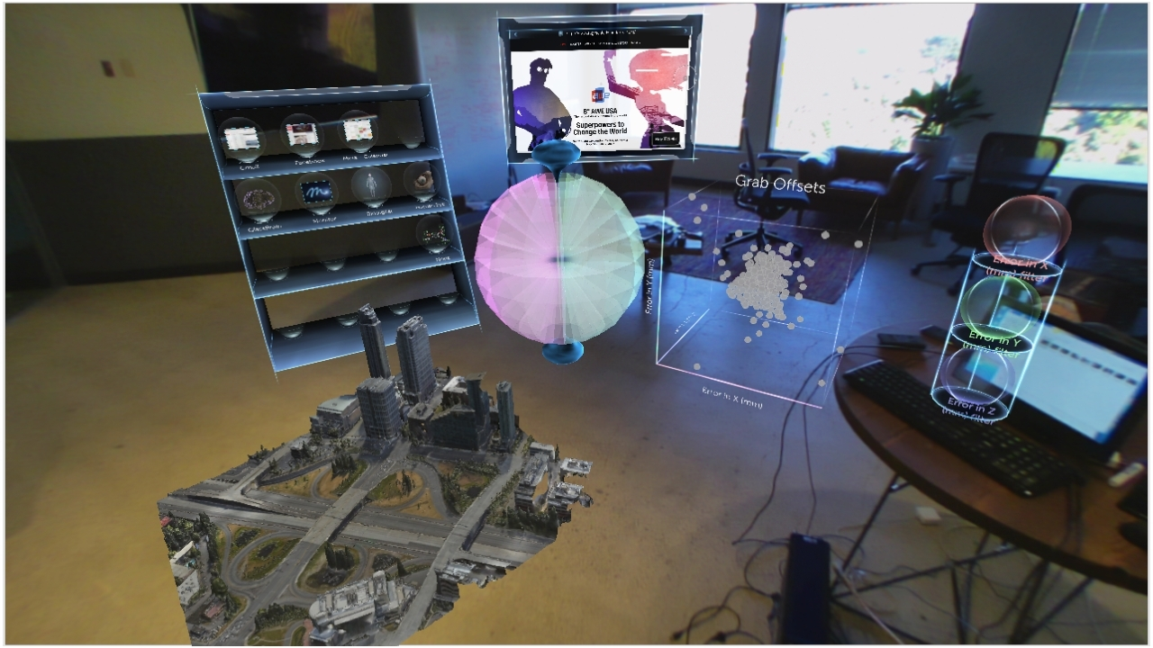Meta CEO Meron Gribetz unveiled AR operating environment Meta Workspace at AWE 2017. This photo of Meta Workspace was captured through the Meta 2 headset. (Graphic: Business Wire)