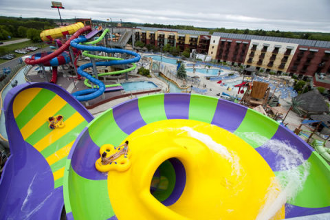 "Now open, Kalahari Resorts and Conventions in Wisconsin Dells added ""The Smoke That Thunders"" raft ride to its outdoor waterpark this year. (Photo: Business Wire)"