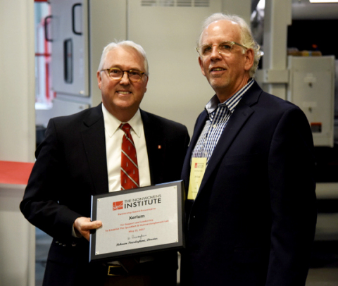Randy Woodson - Chancellor N.C. State University (L), John Schauer - Global Product Manager - Nonwov ...