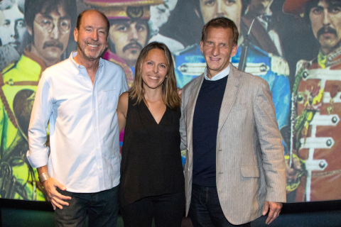 On Thursday, June 1, 2017, Dolby Laboratories and Universal Music Group hosted guests at Dolby Cinema at The Vine in Hollywood to Celebrate the 50th Anniversary of The Beatles' Sgt. Pepper's Lonely Hearts Club Band remixed in Dolby Atmos. The Dolby Atmos mix was created by Grammy Award-winning producers Giles Martin, the son of George Martin, The Beatles' original producer, and Abbey Road Studios senior engineer Sam Okell in collaboration with Academy Award-winning re-recording mixer Chris Jenkins. Pictured from left to right, Chris Jenkins with Dolby's Senior Director of Worldwide Strategic Initiatives, Christine Thomas and UMG's President of Operations and Advanced Media, Michael Frey. (Photo Credit: Craig T. Mathew/Mathew Imaging)