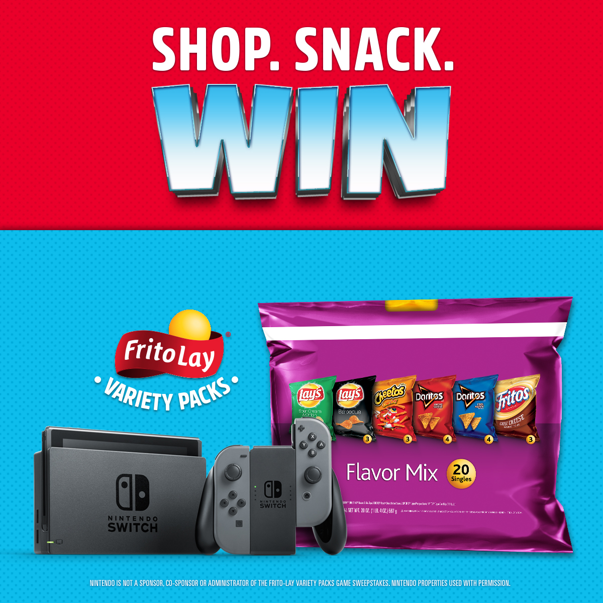 Between now and July 8, Frito-Lay is giving away one Nintendo Switch system and a game every single hour! (Graphic: Business Wire)