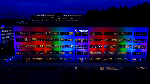 T-Mobile Shows #UnlimitedPride in 2017 by lighting up Bellevue Headquarters, Plans to Participate in 53 LGBTQ Events across 29 States Nationwide. (Photo: Business Wire)