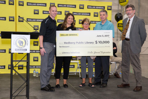 Dollar General Donation to the Hedberg Public Library - L to R: Matt Lucas, Director, Janesville Distribution Center, Dollar General; Lindsey Sublett – Community Initiatives, Dollar General; Jackie Wood- Hedberg Public Library; Phil Whitehead- Hedberg Public Library; Charles Teval – Hedberg Public Library (Photo: Business Wire)