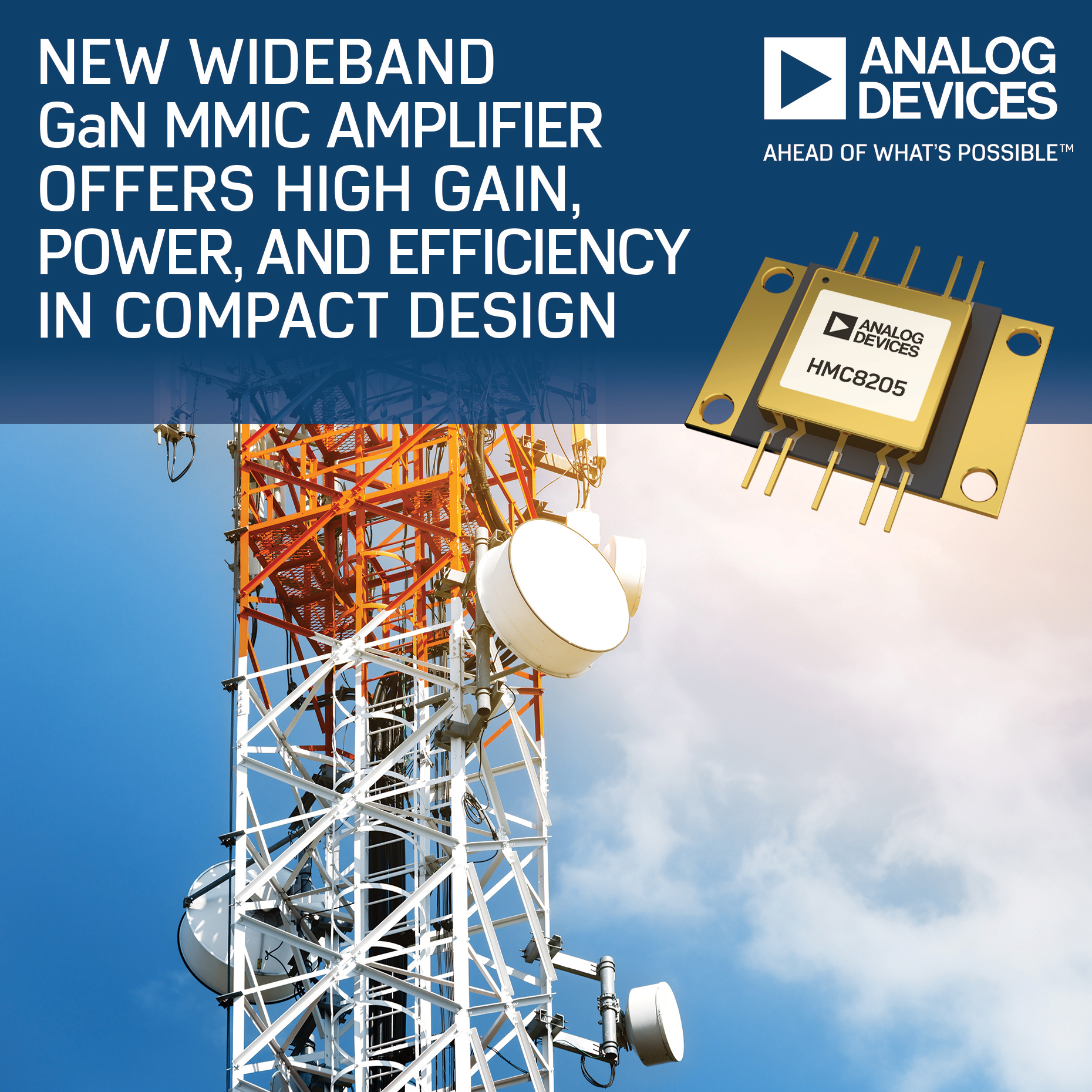 Analog Devices' Wideband GaN MMIC Amplifier Offers High Gain, Power and Efficiency in Compact Design (Photo: Business Wire)