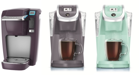 Keurig Unveils Fresh New Colors for Spring. Black Plum, Plum Gray and Oasis join Keurig's brewer color portfolio (Photo: Business Wire)