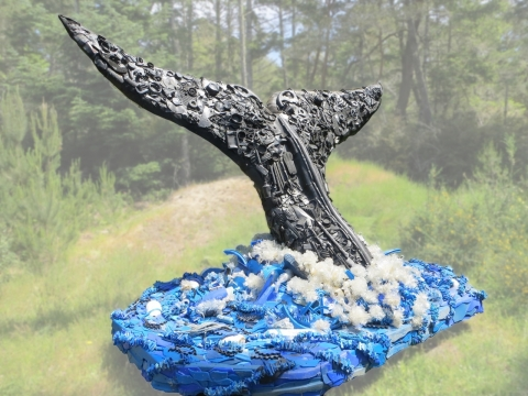 """""""Grace"""" the 9-foot-tall Humpback Whale as displayed by Washed Ashore at the United Nations Ocean Conference, June 5-9, 2017, in New York. (Photo: Business Wire)"""