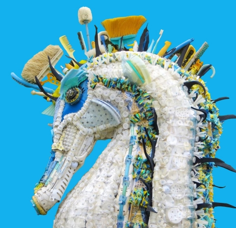 "Close-up of ""Stella"" the 10-foot-tall Seahorse as displayed by Washed Ashore at the United Nations Ocean Conference, June 5-9, 2017, in New York. (Photo: Business Wire)"