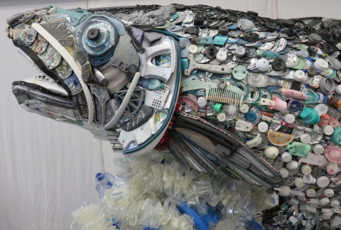 "Close-up of the head of ""Nora"" the 6-foot Salmon as displayed by Washed Ashore at the United Nations Ocean Conference, June 5-9, 2017, in New York. (Photo: Business Wire)"