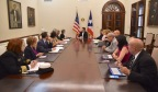 Dr. Carmen Deseda, State Epidemiologist (right), Dr. Rafael Rodriguez-Mercado, Secretary of Health (right), Ricardo Rosselló, Governor of Puerto Rico (center), CDC Acting Director Anne Schuchat, MD (left), and other CDC and PRDH officials meet to discuss the latest Zika cases in Puerto Rico and ongoing collaboration and response efforts from the CDC and PRDH to keep the number of cases down. (Photo: Business Wire)