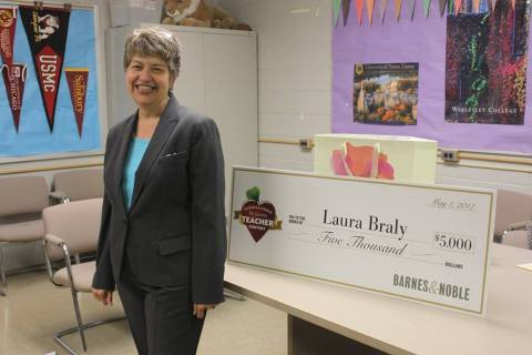 "Laura Braly from Dulaney High School in Baltimore, MD, was today named the 2017 ""Teacher of the Year"" in the Barnes & Noble My Favorite Teacher Contest. Along with the title of ""Teacher of the Year,"" Ms. Braly will receive $5,000 and was recognized at a special community celebration at her school on May 30. Ms. Braly's school will also receive $5,000. (Photo: Business Wire)"