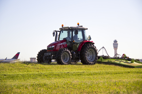 A Massey Ferguson 5700SL mowing the Atlanta airport (Photo: Business Wire)