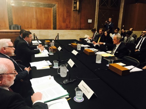 """Ameresco's Senior Vice President Michael T. Bakas participated in a Clean Air Roundtable hosted by U.S. Senator Tom Carper at the U.S. Capitol. The session titled """"A Historic View of the Clean Air Act: Providing the Way for Cleaner Air, Innovation, and Economic Opportunities"""" was created to facilitate discussions about the innovation and economic opportunities created by past Clean Air Act regulations and protections. (Photo: Business Wire)"""