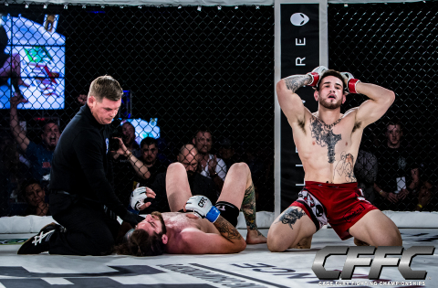 "Top Northeast prospect Sean Brady took on WWE's ""Tough Enough"" star Tanner Saraceno for the welterweight title in the main event of CFFC 65 (Photo: Business Wire)"