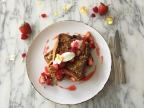 Andaz West Hollywood's Strawberry Pain Perdu with Mascarpone, Almond Streusel and Flowers. The hotel is participating in the EAT (RED) SAVE LIVES campaign, and every order of this special breakfast triggers a $3 donation from the hotel that goes directly to (RED)'s fight. (Photo: Business Wire)