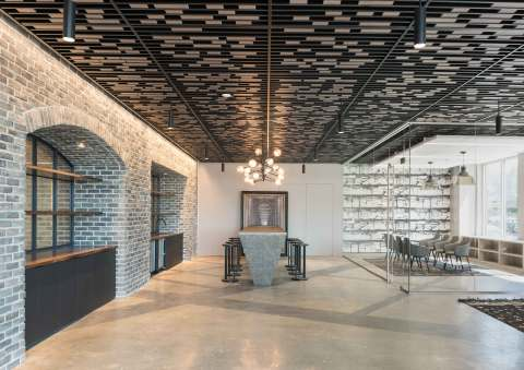 The Navy Fight Song in Morse Code is hidden in the ceiling slats over the new collaborative meetings spaces at 80 M Street in Washington, D.C., part of a $3 million renovation that helped Columbia Property Trust achieve over 150,000 square feet of leasing at the building. (Photo: Business Wire)
