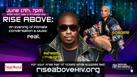 """Raheem DeVaughn and R&B Vocalist Goapele will appear on Saturday, June 17th at Chicago's Park West in support of """"RISE Above"""" campaign dedicated to women's sexual health awareness. (Graphic: Business Wire)"""