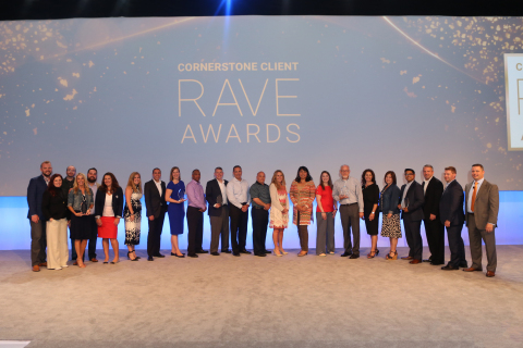 Winners of Cornerstone's 2017 Client RAVE Awards were honored at Convergence 2017, the company's 15th annual client and partner conference. Recipients include: Altria Group Distribution Company (Learning Strategy Innovation); Dunkin' Brands (Impact on User Adoption); Potash Corporation of Saskatchewan, Inc. (Visionary in Performance Management); UPS (Transformational HR and Talent Strategy); and Upwardly Global (Advancement in Reinventing Work). (Photo: Business Wire)