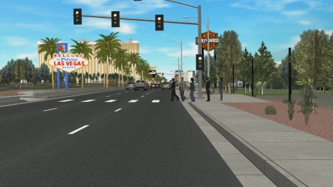Démonstrateur ESI présenté au CES de Las Vegas, basé sur Pro-SiVIC™. Les visiteurs ont été invités à découvrir une nouvelle fonctionnalité automatisée intégrée dans un véhicule en le « conduisant » dans la ville de Las Vegas.