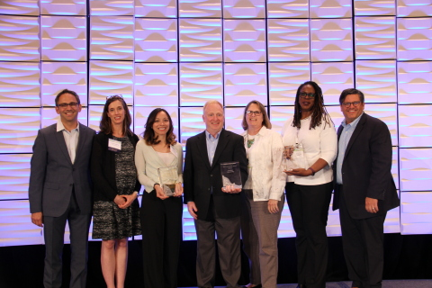 Eduventures Announces 2017 Innovation Award Winners. Pictured Left to Right: Todd Boullion (NRCCUA), Cara A. Quackenbush (Eduventures), Rocio Garza Tisdell (Wellesley College), Stephen Lipps (Purdue University), Cathy Heinz (Purdue University), Genyne Royal (Michigan State University) and Patrick Vogt (NRCCUA). (Photo: Business Wire)