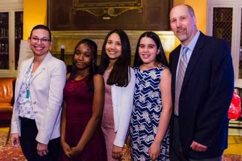 Harvard Library Spring Reception - May 31, 2017 - Young Reader's Prize winners from JHS 050 John D Wells School - Heaven Nesbitt, Merelin Penalo, and Michel Reyes with their teachers Carolina Hidalgo and James Whitaker (left to right)