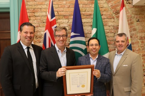 Mayor Jim Watson surrounded with a few members of the Board of Directors along with the President & CEO of Ottawa Chamber of Commerce proclaiming 'Ottawa Chamber of Commerce Day' in the city, marking 160 years of business continuity of the largest independent voice of business in Ottawa. (Photo: Business Wire)