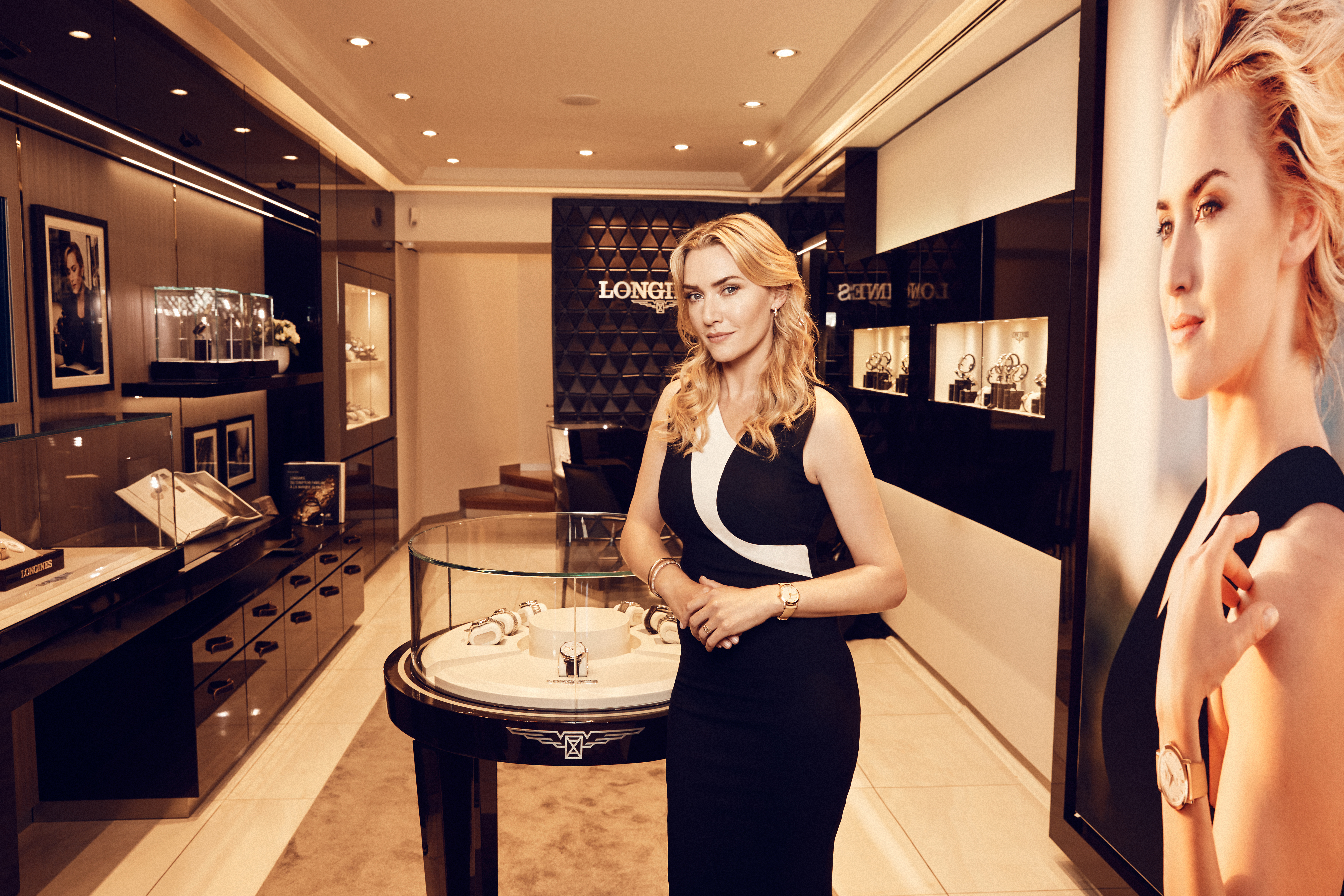 3 models of the Flagship Heritage by Kate Winslet are being auctioned online for the benefit of The Golden Hat Foundation co-founded by the British actress. (Photo: Longines)