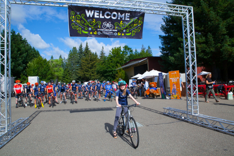 Kaelyn, 14, a recent UnitedHealthcare Children's Foundation grant recipient, leads the start of the third annual Velo & Vines Century Ride Saturday, June 10, from the Arnot-Roberts Winery in Healdsburg, Calif. The 2017 UHCCF Velo & Vines Century Ride raised funds for the UnitedHealthcare Children's Foundation, which provides medical grants that help children gain access to health-related services not covered, or not fully covered, by their parents' commercial health insurance plans (Photo: Amy Sullivan).