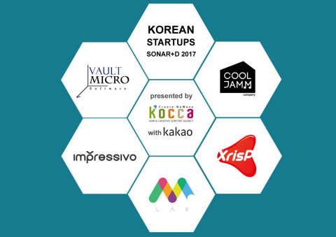 5 promising and innovative Korean startups, COOLJAMM, Impressivo Korea, m.Lab, Vault Micro and XrisP will be showcased in Sonar+D in Barcelona, Spain which will be held in Fira Montjuic from 14th to 16th of June. It is the international conference, dedicated to Creativity, Technology and Business running concurrently with Sonar which is an electronic and advanced music festival. The 5 start-ups have been selected and supported by Korea Creative Content Agency (KOCCA), a government agency that supports Korean creative industry. (Graphic: Business Wire)