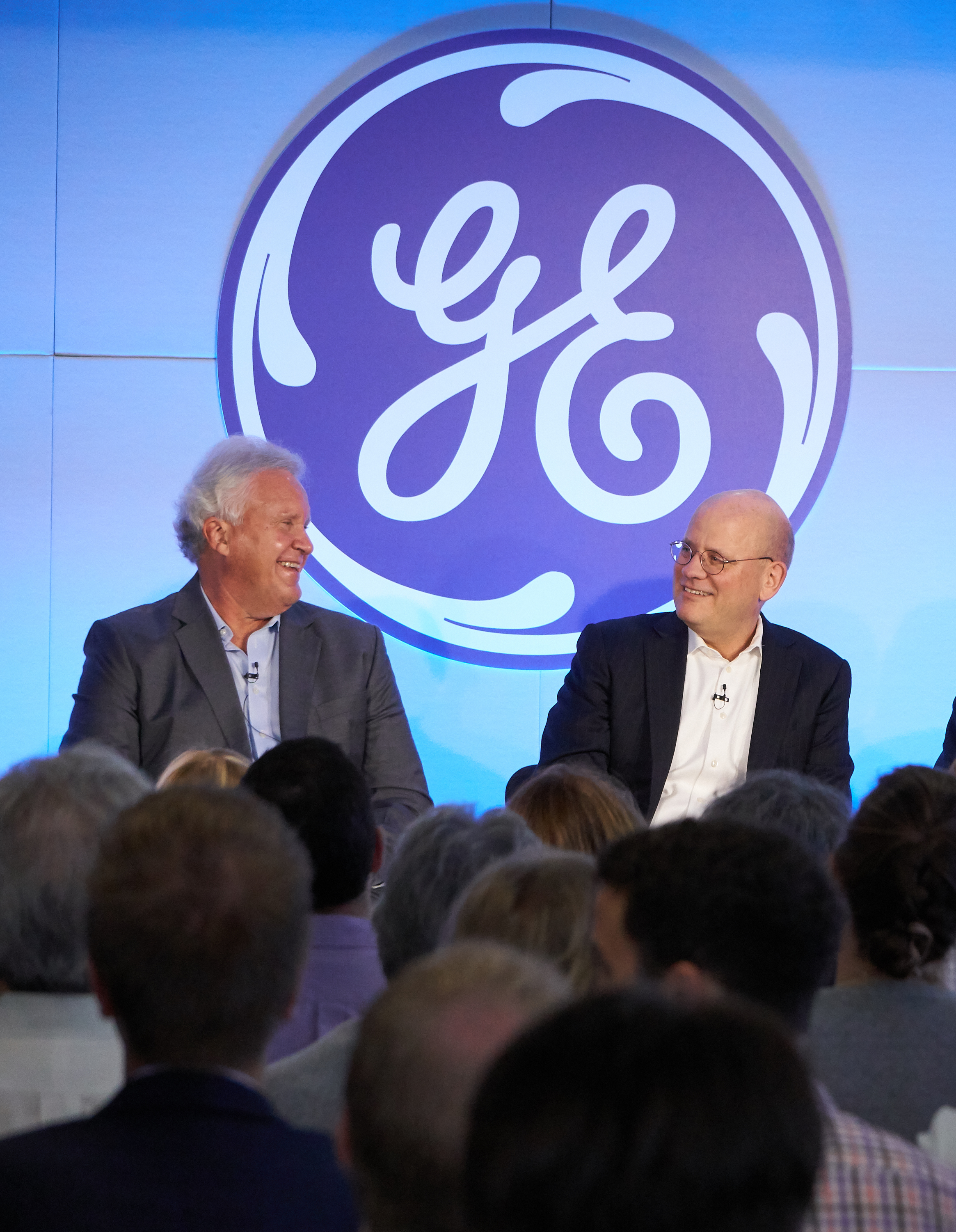 Boston, MA: Jeff Immelt, GE chairman and CEO, and John Flannery, CEO at GE Healthcare, during an all employee broadcast announcing Jeff Immelt's retirement as CEO and John Flannery as his successor effective August 1, 2017. (Photo:GE)