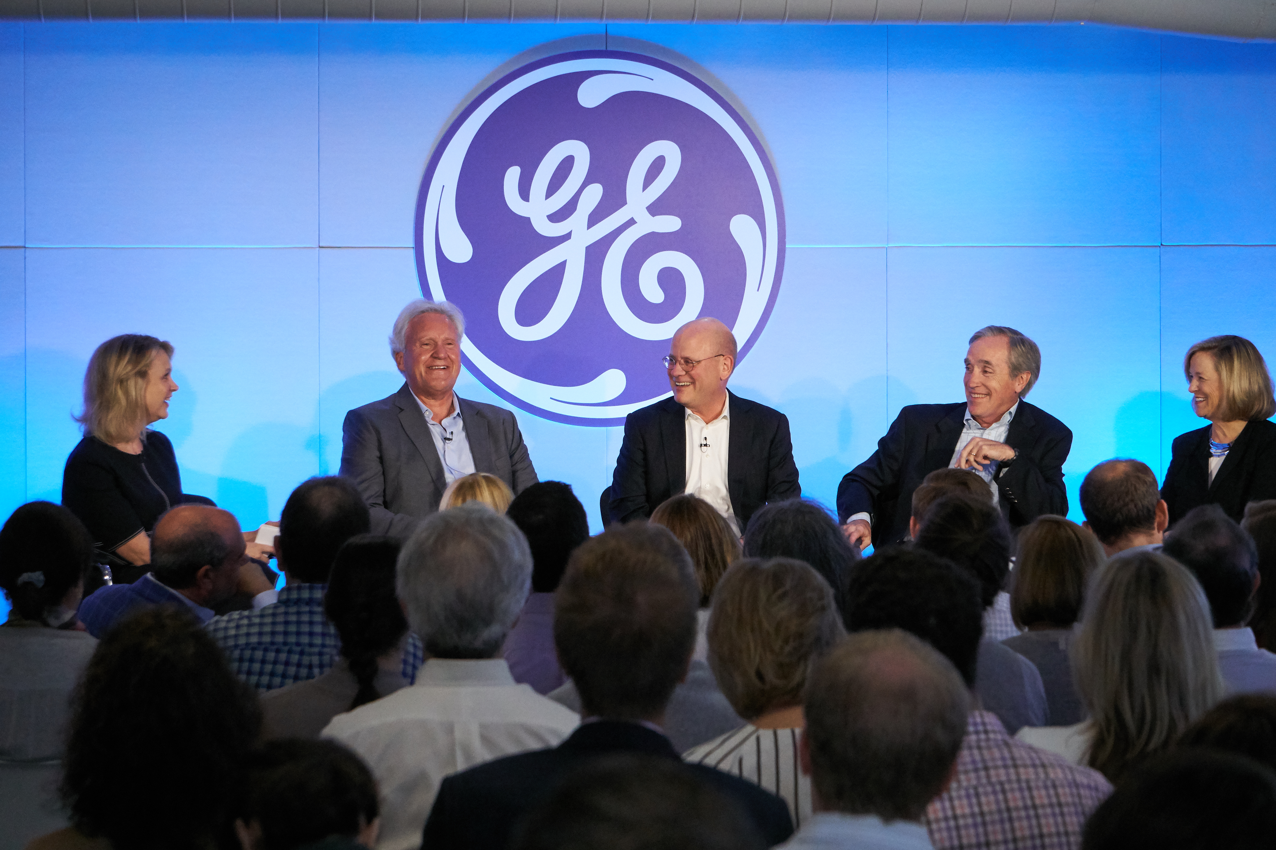 Boston, MA: Deirdre Latour, GE chief communications officer, Jeff Immelt, GE chairman and CEO, John Flannery, CEO at GE Healthcare, Jack Brennan, Lead Independent Director, GE Board of Directors and Susan Peters, GE senior vice president, HR, during an all employee broadcast announcing Jeff Immelt's retirement as CEO and John Flannery as his successor effective August 1, 2017. (Photo:GE)