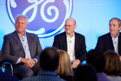 Boston, MA: Jeff Immelt, GE chairman and CEO, John Flannery, CEO at GE Healthcare, and Jack Brennan, Lead Independent Director, GE Board of Directors, during an all employee broadcast announcing Jeff Immelt's retirement as CEO and John Flannery as his successor effective August 1, 2017. (Photo:GE)