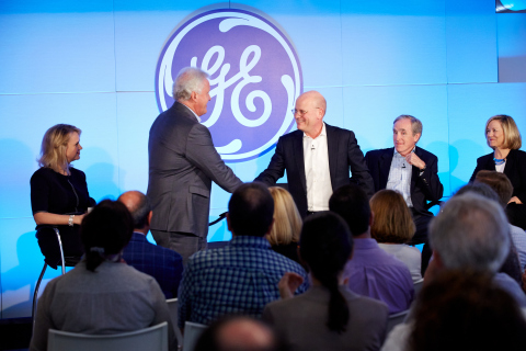 Boston, MA: Jeff Immelt shaking hands with John Flannery on June 12, 2017 during an all employee broadcast announcing Jeff Immelt's retirement as CEO and John Flannery as his successor effective August 1, 2017. (Photo:GE)