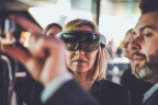 Clients experience mixed reality technology demo at the Accenture Liquid Studio in Stockholm. (Photo: Business Wire)