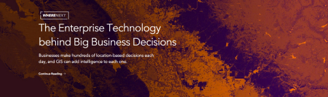 Esri, the global leader in spatial analytics, today announced the launch of WhereNext, an online resource that provides a revealing look at the role of location in trends such as the Internet of Things (IoT), digital transformation, big data analytics, and smart communities. (Graphic: Business Wire)