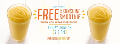 Tropical Smoothie Cafe kicks off summer with free smoothies for National Flip Flop Day (Photo: Tropical Smoothie Cafe).