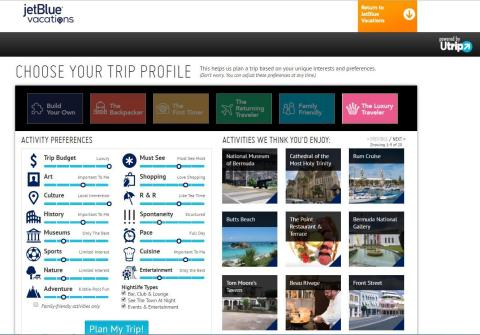 Travelers can go to jetblue.com/vacations and enter their destination and travel dates in the JetBlue Vacations-Utrip portal. Next they rank their travel preferences in 16 categories, such as history, food, nightlife and budget. (Photo: Business Wire)