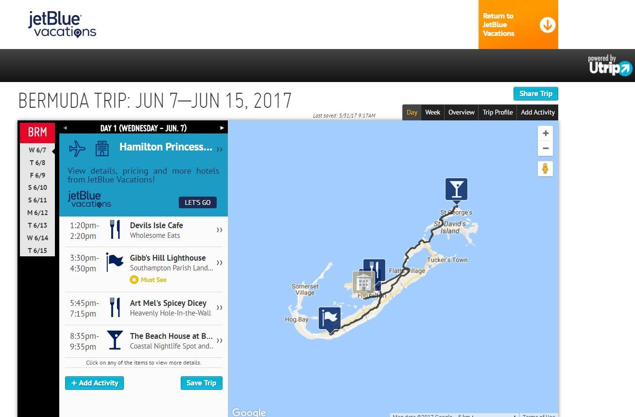 The JetBlue Vacations-Utrip portal offers a suggested daily itinerary with recommended times and maps. (Photo: Business Wire)