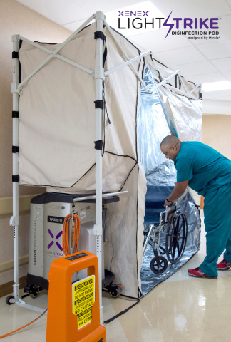 The LightStrike Disinfection Pod™ is a mobile disinfection pod designed to help hospitals disinfect high-touch equipment, such as workstations, IV pumps, pulse oximeters, isolettes, and even patient charts. (Photo: Business Wire)