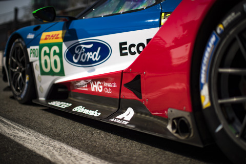 The Ford GT race cars feature Axalta's iconic logo as they compete in both the full-season International Motor Sports Association (IMSA) WeatherTech SportsCar Championship and the FIA World Endurance Championship (WEC) series. Photo credit: Ford/Drew Gibson.