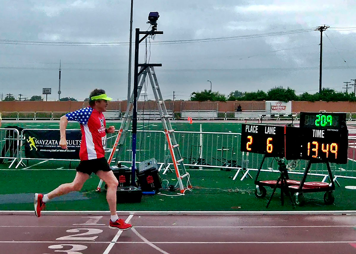 Don Wright finishes the 100m race at the USATF Outdoor Masters Championships June 11 in St. Paul, MN (Photo: eRace Cancer)