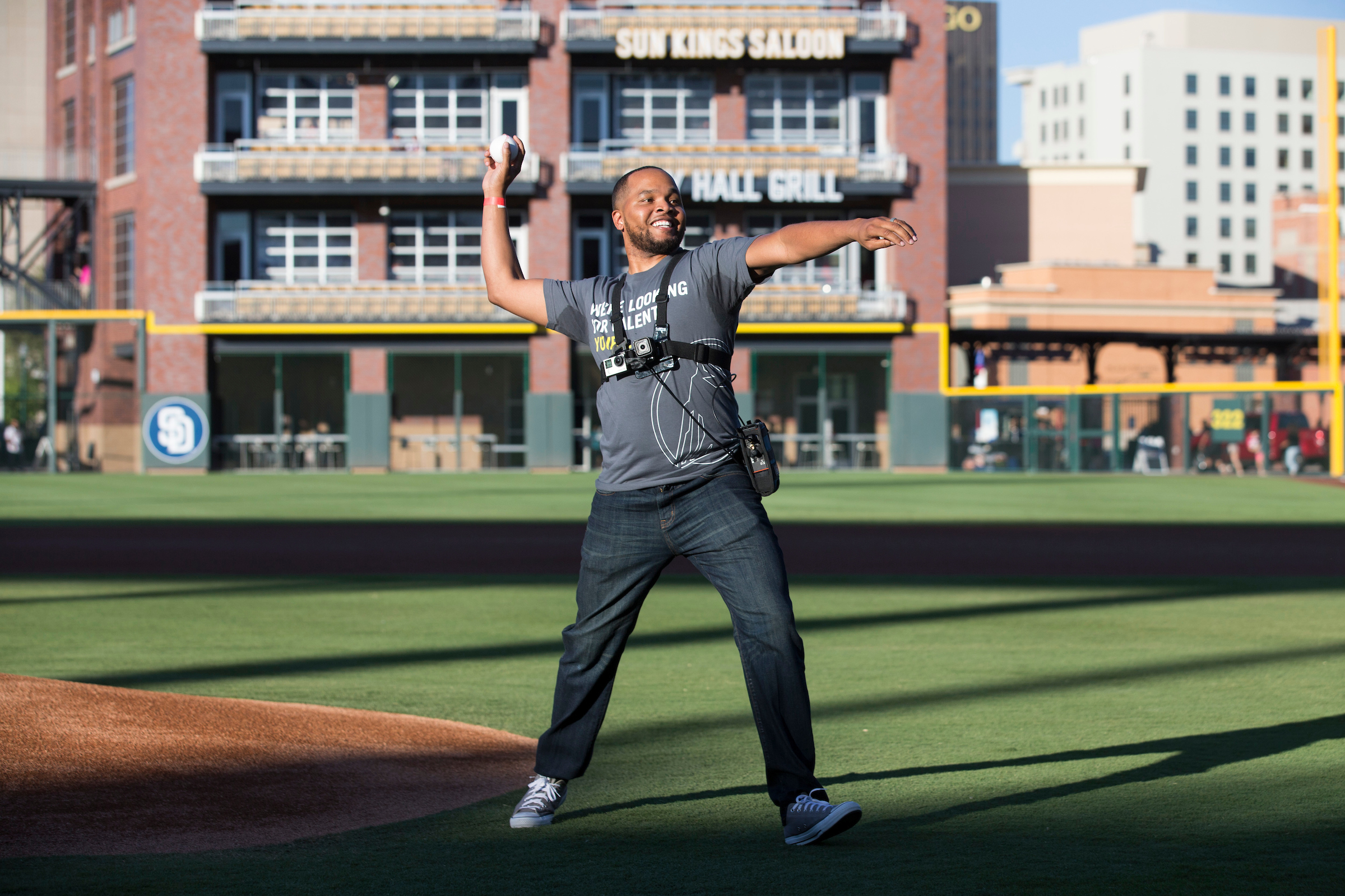 Shelton Kelley, Army Veteran and manager at Prudential, throws out the first pitch before the start of the El Paso Chihuahuas AAA baseball game at Southwest University Park on Wednesday, June 14, 2017, in El Paso, Texas. (Ivan Aguirre/AP Images for Prudential Financial, Inc.)